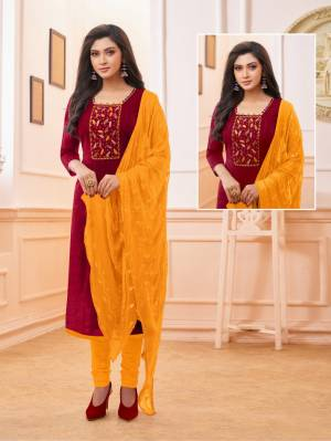 Celebrate This Festive Season With Beauty And Comfort Wearing This Straight Suit In Maroon And Musturd Yellow Color. Its Top And Bottom Are Cotton Based Paired With Chiffon Fabricated Dupatta.