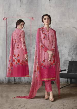 Look Pretty Wearing This Designer Suit In Pink Color. Its Top Is Fabricated On Georgette Paired With Santoon Bottom And Chiffon Fabricated Dupatta. Its Top Is Beautified With Digital Prints And Lakhnavi Work. Buy Now.