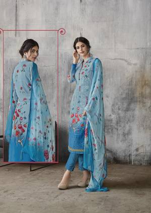Simple And Elegant Designer Suit Is Here In Lakhnavi Work with Digital Prints. This Suit Is In All Over Blue Color Whose Top Is Georgette Based Paired With Santoon Bottom And Chiffon Fabricated Dupatta.