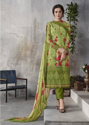 Celebrate This Festive Season With Beauty And Comfort Wearing This Designer Straight Cut Suit In Green Color. Its Pretty Georgette Based Top Is Beautified With Digital Prints And Lakhnavi Work Paired With Santoon Bottom And Chiffon fabricated Digital Printed Dupatta. Buy This Semi-Stitched Suit Now.