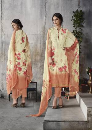This Festive Season Look The Most Elegant Of All Wearing This Designer Straight Suit In Cream Colored Top And Dupatta Paired With Peach Colored Bottom. Its Lakhnavi Embroidered Top IS Fabricated On Georgette Paired With Santoon Bottom And Chiffon Fabricated Dupatta Beautified With Digital Prints.