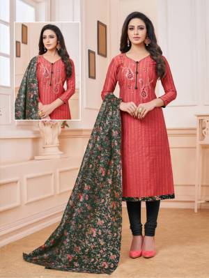 For Your Utmost Comfort, Grab This Dress Material And Get This Cotton Based Dress Material Stitched As Per Your Desired Fit And Comfort. Its Top Is In Pink Color Paired With Black Colored Bottom And Digital Printed Dupatta.