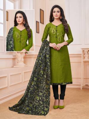 For Your Utmost Comfort, Grab This Dress Material And Get This Cotton Based Dress Material Stitched As Per Your Desired Fit And Comfort. Its Top Is In Green Color Paired With Black Colored Bottom And Digital Printed Dupatta.