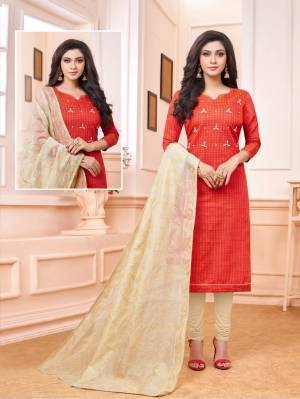Enhance Your Personality Wearing This Designer Staright Suit In Orange Colored Top Paired With Cream Colored Bottom And Dupatta. Its Top And Bottom Are Cotton Based Paired With Embroidered Cotton Silk Dupatta.