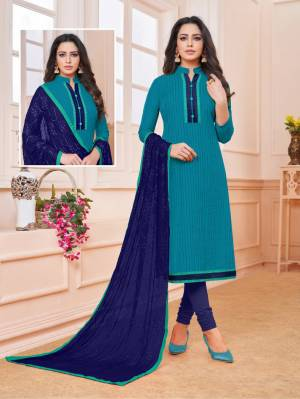 Add Some Semi-Casuals To Your Wardrobe With This Designer Straight Suit In Blue Colored Top Paired With Contrasting Royal Blue Colored Bottom And Dupatta. This Dress Material IS Cotton Based Paired With Chiffon Fabricated Embroidered Dupatta. Buy Now.