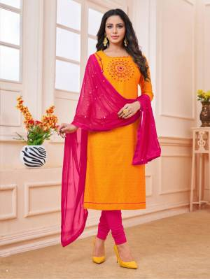 Celebrate This Festive Season With Beauty And Comfort Wearing This Designer Straight Suit In Orange Colored Top Paired With Contrasting Dark Pink Colored Dupatta. This Dress Material IS Cotton Based Paired With Chiffon Dupatta, Get This Stitched As per Your Desired Fit And Comfort.