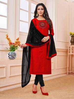 Celebrate This Festive Season With Beauty And Comfort Wearing This Designer Straight Suit In Red Colored Top Paired With Black Colored Dupatta. This Dress Material IS Cotton Based Paired With Chiffon Dupatta, Get This Stitched As per Your Desired Fit And Comfort.