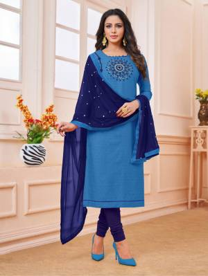 Celebrate This Festive Season With Beauty And Comfort Wearing This Designer Straight Suit In Blue Colored Top Paired With Navy Blue Colored Dupatta. This Dress Material IS Cotton Based Paired With Chiffon Dupatta, Get This Stitched As per Your Desired Fit And Comfort.