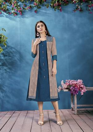Simple And Elegant Yet Stylish Looking Readymade kurti With Jacket Is Here In Blue And Sand Grey Color. This Pretty Kurti And Jacket are Cotton Based Which IS Light Weight, Durable And Ensures Superb Comfort All Day Long.