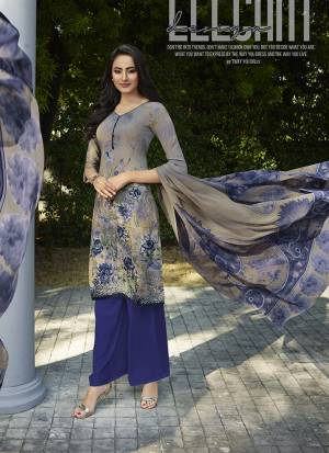 Grab This Pretty Digital Printed Dress Material In Grey And Dark Blue Color. Its Top And Bottom Are Fabricated On Crepe Paired With Georgette Fabricated Dupatta. Get This Stitched As Per Your Desired Fit And Comfort.