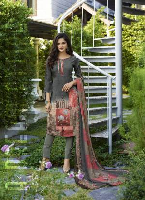 Simple And Elegant Looking Printed Dress Material Is Here In Grey And Multi Color. This Suit Is Crepe Based Paired With Georgette Fabricated Dupatta. It Is Beautified With Digital Prints All Over.