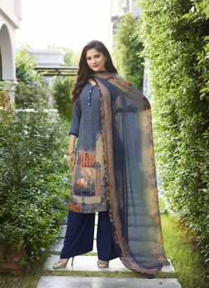Enhance Your Personality In This Rich And Elegant Looking Printed Suit In Navy Blue Color. This Dress Material Is Fabricated On Crepe Paired With Georgette Fabricated Dupatta. Buy Now.