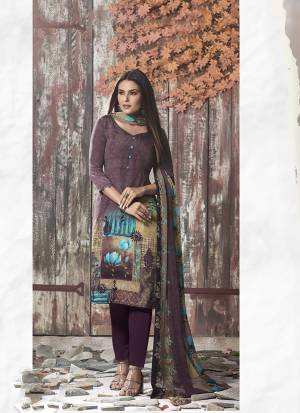 Simple And Elegant Looking Printed Dress Material Is Here In Wine Color. This Suit Is Crepe Based Paired With Georgette Fabricated Dupatta. It Is Beautified With Digital Prints All Over.