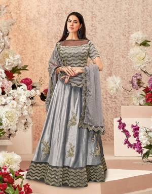 Bold color to wear to weddings, this grey lehenga with golden embroidery details is as beautiful as it can get. Ditch the traditional colors , if you are the one who likes some change from convention