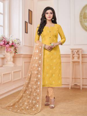 Celebrate This Festive Season Wearing This Designer Straight Suit In Musturd Yellow Colored Top Paired With Beige Colored Bottom And Dupatta. Its Top Is Fabricated On Modal Silk Paired With Cotton Bottom And Net Fabricated Dupatta. Its Top And Dupatta Are Beautified With Embroidery. Buy Now.