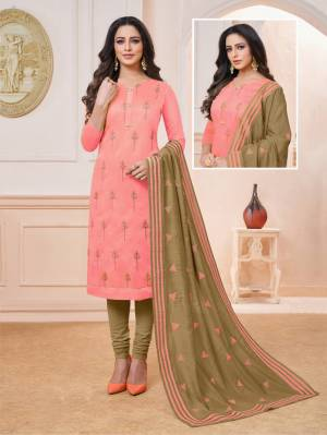 For Your Semi-Casuals, Grab This Designer Straight Suit In Pink Colored Top Paired With Contrasting Olive Green Colored Bottom And Dupatta. Its Top IS Modal Silk Based Paired With Cotton Bottom And Chiffon Fabricated Dupatta.