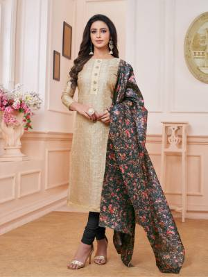Rich and Elegant Looking Designer Straight Suit Is Here In Cream Colored Top Paired With Black Colored Bottom And Dupatta. Its Top Is Fabricated On Modal Silk Paired With Cotton Bottom And Cotton Silk Fabricated Digital Printed Dupatta. Buy This Rich Looking Suit Now.