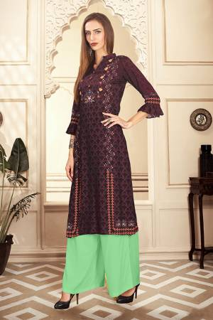 Beat The Heat This Summer With These Readymade Pair Of Kurti And Plazzo In Wine And Light Green Color. This Kurti And Plazzo Are Fabricated on Rayon Cotton And Available In All Sizes, Choose As Per Your Desired Fit And Comfort. Buy Now.