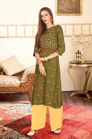 Beat The Heat This Summer With These Readymade Pair Of Kurti And Plazzo In Olive Green And Yellow Color. This Kurti And Plazzo Are Fabricated on Rayon Cotton And Available In All Sizes, Choose As Per Your Desired Fit And Comfort. Buy Now.