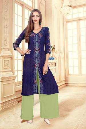 Beat The Heat This Summer With These Readymade Pair Of Kurti And Plazzo In Royal Blue And Light Green Color. This Kurti And Plazzo Are Fabricated on Rayon Cotton And Available In All Sizes, Choose As Per Your Desired Fit And Comfort. Buy Now.