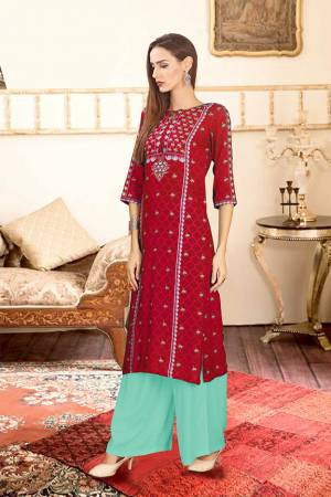 Grab This Beautiful Readymade Pair Of Kurti And Plazzo In Rani Pink And Aqua Blue Color. This Pair Is Rayon Cotton Based Beautified With Digital Prints Over The Kurti.
