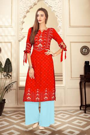 Beat The Heat This Summer With These Readymade Pair Of Kurti And Plazzo Orange And Aqua Blue Color. This Kurti And Plazzo Are Fabricated on Rayon Cotton And Available In All Sizes, Choose As Per Your Desired Fit And Comfort. Buy Now.