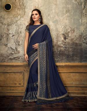 If you're all up for desi appearance with a contemporary twist, this Navy Blue saree is a perfect pick for you. Wear a belt or go raw , this saree is sure to steal the show.