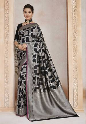 Enhance Your Personality Wearing This Designer Silk Based Saree In Black Color. This Saree And Blouse Are Fabricated On Soft Art Silk Beautified With Weave All Over.