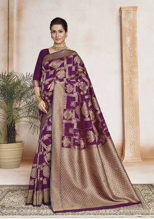 Celebrate This Festive Season In Traditional Look Wearing This Designer Saree In Purple Color . This Saree And Blouse Are Fabricated On Soft Art Silk Beautified With Weave All Over. It Is Light Weight, Durable And Easy To Carry All Day Long.