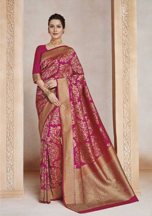 Enhance Your Personality Wearing This Designer Silk Based Saree In Dark Pink Color. This Saree And Blouse Are Fabricated On Soft Art Silk Beautified With Weave All Over.