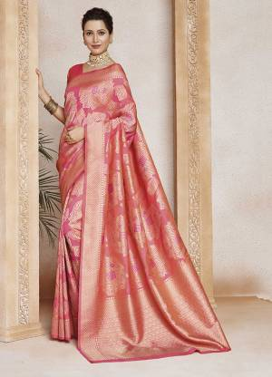 Grab This Very Beautiful Designer Weaved Saree In Dark Peach Color . This Saree And Blouse Are Fabricated On Soft Art Silk. Its Fabric Will Give A Rich Look To Your Personality.
