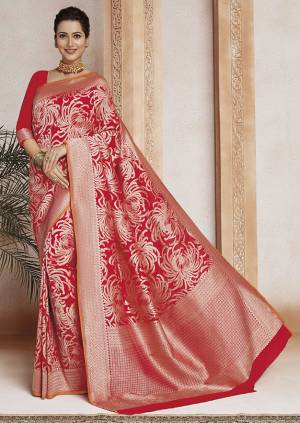 Celebrate This Festive Season In Traditional Look Wearing This Designer Saree In Red Color . This Saree And Blouse Are Fabricated On Soft Art Silk Beautified With Weave All Over. It Is Light Weight, Durable And Easy To Carry All Day Long.