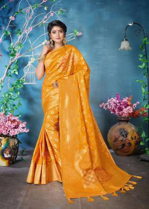 Celebrate This Festive Season Wearing This Designer Silk Based Saree In Musturd Yellow Color Paired With Musturd Yellow Colored Blouse. This Saree And Blouse Are Fabricated On Banarasi Art Silk Beautified With Weave All Over. Buy Now.
