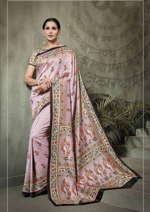 Look Pretty In This Lovely Baby Pink Colored Saree Paired With Baby Pink Colored Blouse. This Saree And Blouse Are Tussar Silk Based Beautified With Digital Prints All Over It.