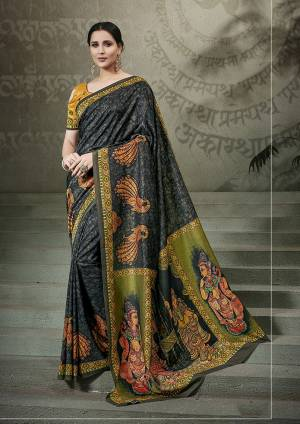 Enhance Your Personality With This Bold And Beautiful Designer Saree In Black Color Paired With Musturd Yellow Colored Blouse. This Saree And Blouse Are Fabricated On Tussar Art Silk Beautified With Digital Prints All Over.