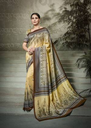 Rich and Elegant Looking Designer Saree Is Here In Light Yellow Color Paired With Light Yellow Colored Blouse. This Pretty Digital Printed Saree And Blouse Are Fabricated On Tussar Art Silk. Buy Now.