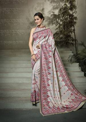 Simple And Elegant Looking Printed Saree Is Here In Steel Grey Color Paired With Steel Grey  Colored Blouse. This Saree And Blouse Fabricated On Tussar Art Silk Beautified With Digital Prints All Over.