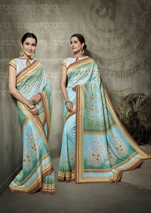 Look Pretty In This Lovely Light Blue Colored Saree Paired With Baby Blue Colored Blouse. This Saree And Blouse Are Tussar Silk Based Beautified With Digital Prints All Over It.