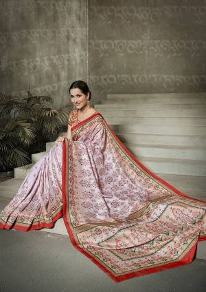 Rich and Elegant Looking Designer Saree Is Here In Baby Pink Color Paired With Peach Colored Blouse. This Pretty Digital Printed Saree And Blouse Are Fabricated On Tussar Art Silk. Buy Now.