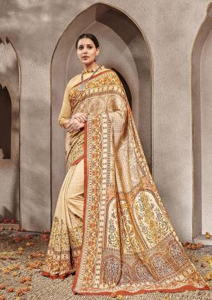 Celebrate This Festive Season Wearing This Designer Silk Based Rich Looking Saree. This Digital Printed Saree And Blouse are Fabricated On Banarasi Art Silk Which Gives A Rich Look To Your Personality.