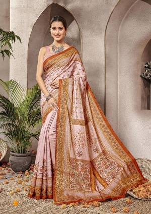 Grab This Very Beautiful Designer Saree For The Upcoming Festive And Wedding Season. This Pretty Saree And Blouse Are Fabricated On Banarasi Art Silk Beautified With Digital Print All Over It.