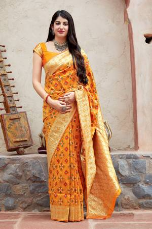 Celebrate This Festive Season With Beauty And Comfort In This Elegant Looking Designer Silk Based Saree In Musturd Yellow Color. This Saree And Blouse Are Fabricated On Banarasi Patola Beautified With Small Butti Weave All Over. Buy Now.?