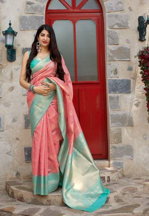 Flaunt Your Rich And Elegant Taste In Silk With This Subtle Weaved Saree In Pink Color. This Saree And Blouse Are Fabricated On Banarasi Art Silk Beautified With Pretty Small Butti Weave All Over It. Its Silk Based Fabric Will Give A Rich Look To Your Personality