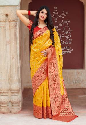 Celebrate This Festive Season With Beauty And Comfort In This Elegant Looking Designer Silk Based Saree In Musturd Yellow Color. This Saree And Blouse Are Fabricated On Banarasi Art Silk Beautified With Small Butti Weave All Over. Buy Now.?