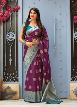 Celebrate This Festive Season With Beauty And Comfort In This Elegant Looking Designer Silk Based Saree In Purple Color. This Saree And Blouse Are Fabricated On Banarasi Art Silk Beautified With Small Butti Weave All Over. Buy Now.?