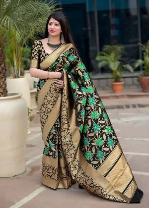 Flaunt Your Rich And Elegant Taste In Silk With This Subtle Weaved Saree In Black Color. This Saree And Blouse Are Fabricated On Art Silk Beautified With Pretty Small Butti Weave All Over It. Its Silk Based Fabric Will Give A Rich Look To Your Personality