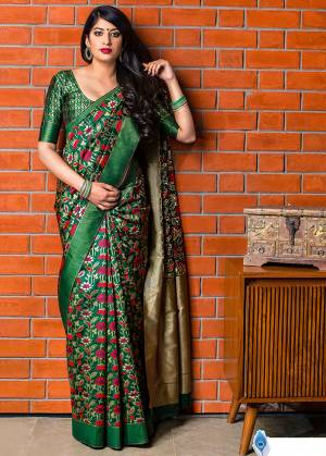 Celebrate This Festive Season With Beauty And Comfort In This Elegant Looking Designer Silk Based Saree In Dark Green Color. This Saree And Blouse Are Fabricated On Banarasi Art Silk Beautified With Small Butti Weave All Over. Buy Now.?