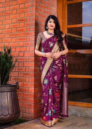 Flaunt Your Rich And Elegant Taste In Silk With This Subtle Weaved Saree In Magenta Pink Color. This Saree And Blouse Are Fabricated On Banarasi Art Silk Beautified With Pretty Small Butti Weave All Over It. Its Silk Based Fabric Will Give A Rich Look To Your Personality