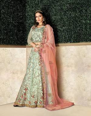 Add sweet notes of class and romance  is this gorgeous and intricately embroidered lehenga in the softest hue of blue . Drape the dupatta on your shoulders and look a class apart.