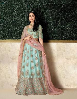 Soft, subtle and exuding a vintage finesse, the sky blue and pinkl lehenga will give an appeal of charming feminity and style. Pair with a maharani choker and steal the show.